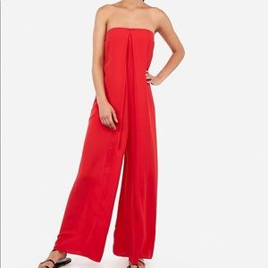 BNWT EXPRESS Red Strapless Flowing Jumpsuit